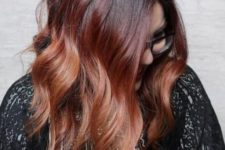14 ombre hair from black to auburn and chestnut for a bright look