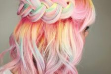 14 pink hair with rainbow coloring is a bold idea to rock, accent your hair with a braid