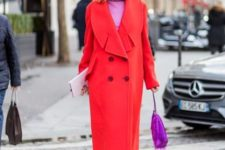bright outfit for fall with an oversized coat