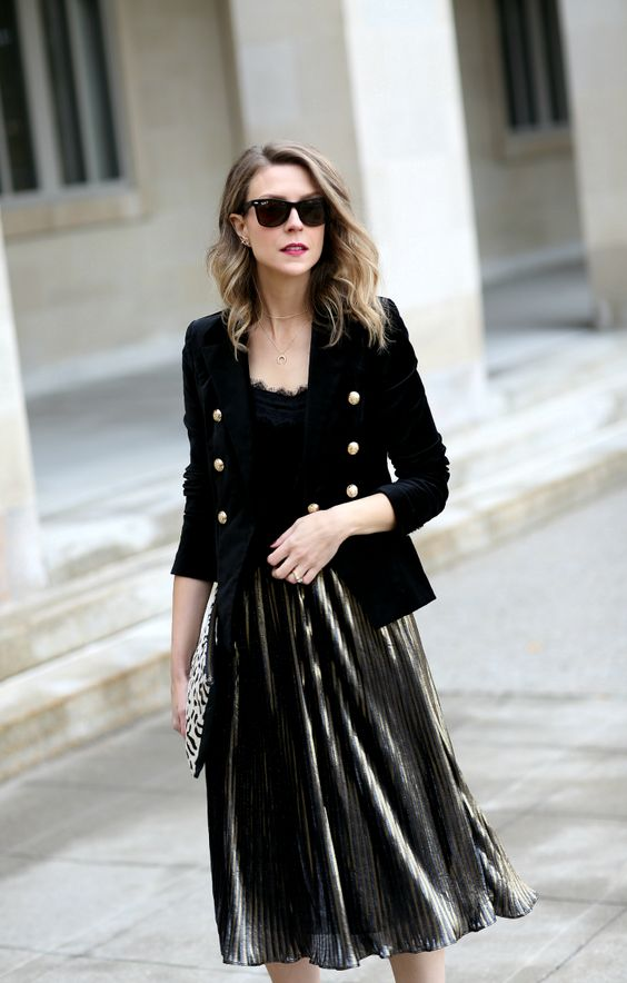 a chic look with a metlalic pleated skirt, a black lace top, a black velvet blazer with gold buttons