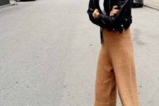 15 a white tee, cropped culottes, a black cropped leather jacket anf brown boots
