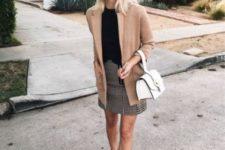 15 brown moccasins, a tweed mini skirt, a black tee, a tan blazer and a white bag