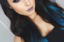 15 long wavy black hair with turquoise balayage is a statement idea for any girl