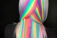 silver gray hair with rainbow accents