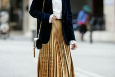 16 a navy velvet blazer, a velvet yellow pleated midi, a white shirt, navy velvet booties