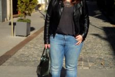 16 blue denim, printed shoes, a grey tee, a black leather jacket and a statement necklace