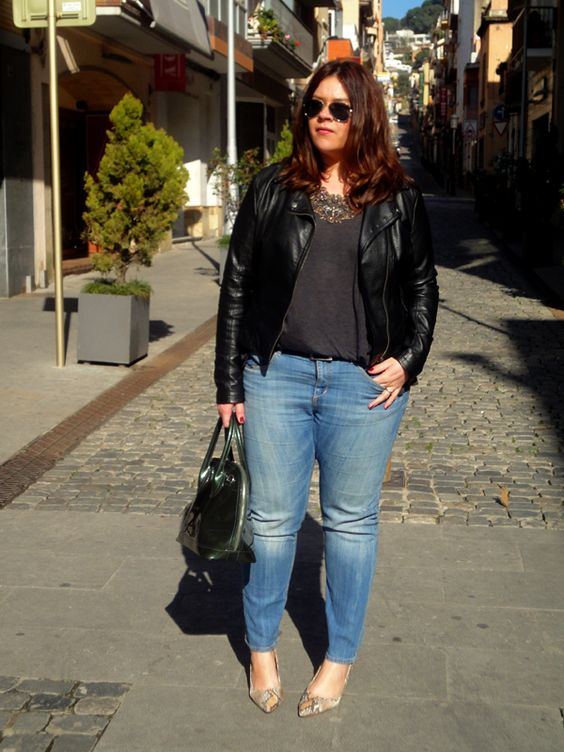 blue denim, printed shoes, a grey tee, a black leather jacket and a statement necklace