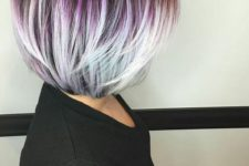 16 highlight your layered haircut with a bold ombre like here – from purple to grey