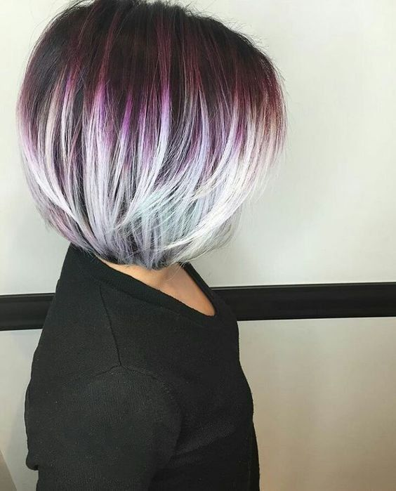 highlight your layered haircut with a bold ombre like here - from purple to grey