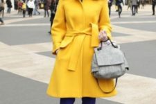 16 purple pants, black shoes, a grey bag and a mustard coat for a super bold fall look