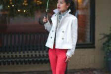 16 red pants, silver shoes, a striped turtleneck and a white cropped trench