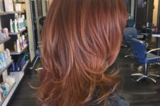 16 shoulder length auburn hair with slight copper balayage for a texture