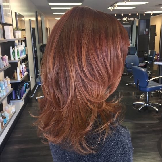 Picture Of Shoulder Length Auburn Hair With Slight Copper Balayage For A Texture