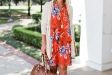 16 style your summer dress for early fall with a creamy cardigan, creamy peep toe booties and a brown bag