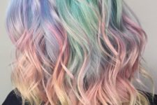 16 trendy medium-length hair with rainbow balayage and messy waves to stand out