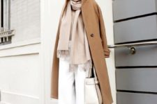 16 white culottes, a neutral scarf, neutral shoes and a camel coat plus a white bag for work