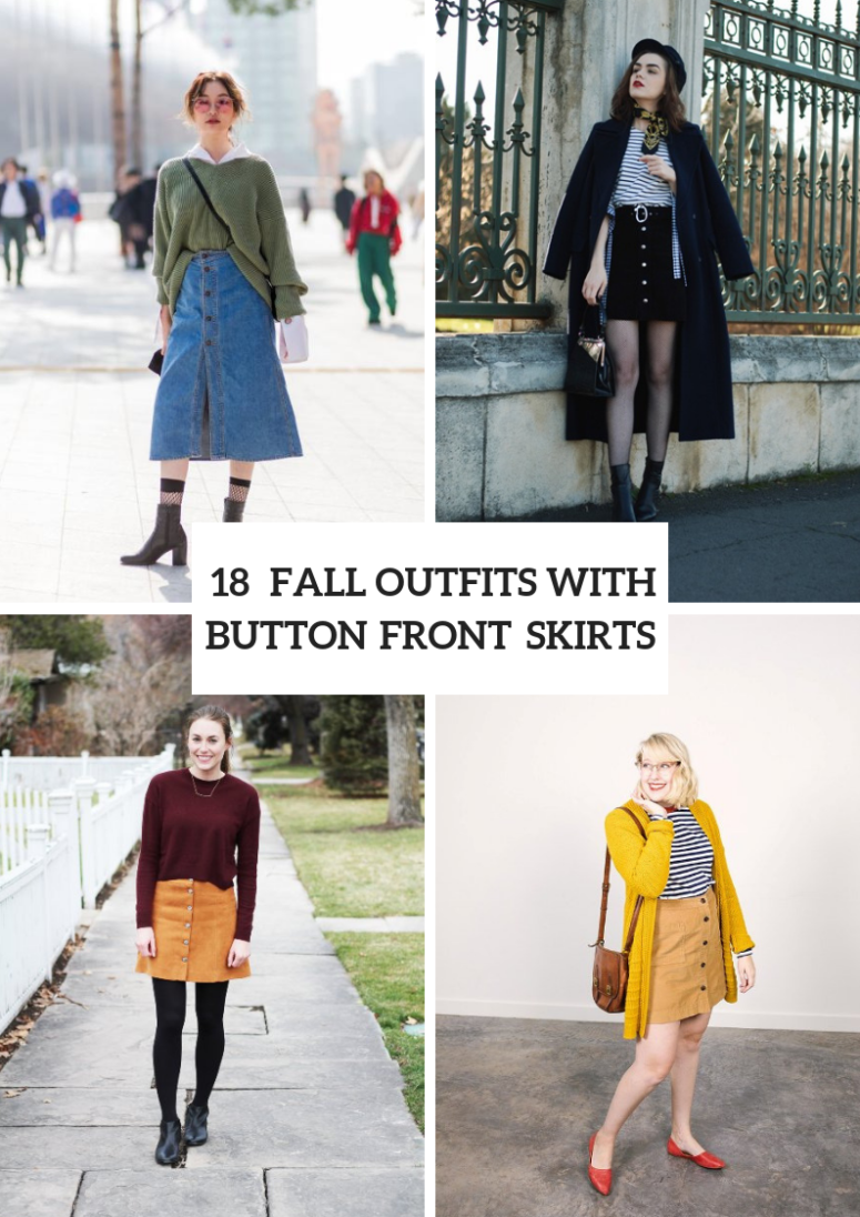 18 Button Front Skirt Outfits For This Fall