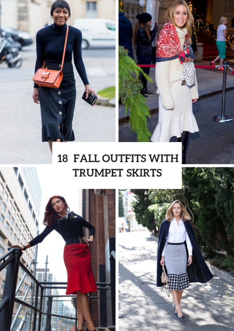 18 Fall Outfits With Trumpet Skirts