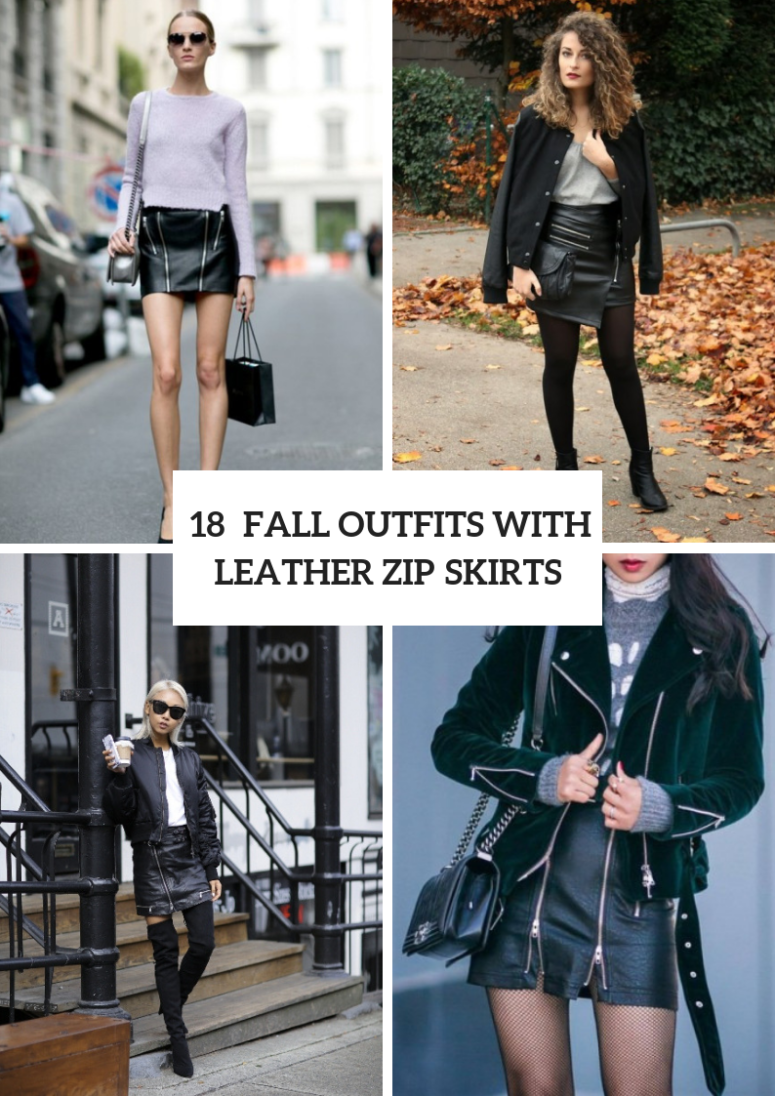 Leather Zip Skirt Outfits For This Season