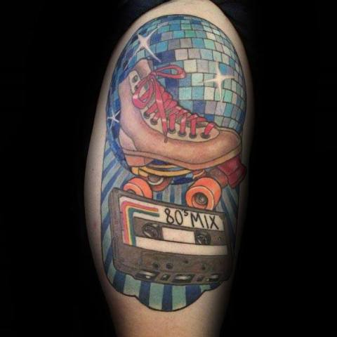 Big 80's inspired tattoo on the arm