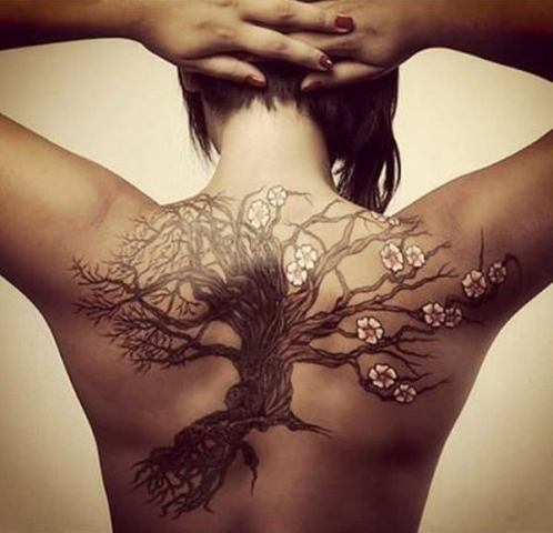 Big tree of life with flowers tattoo