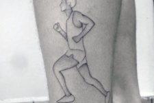 Black-contour running man tattoo