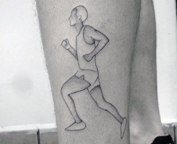 Black-contour running man tattoo