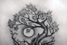 Black tree of life with moon tattoo