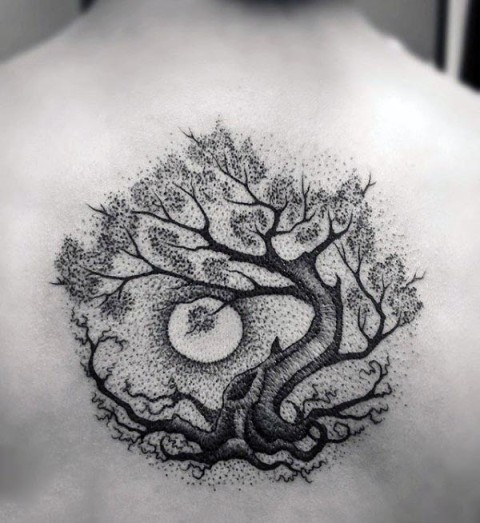 Black tree of life with moon tattoo