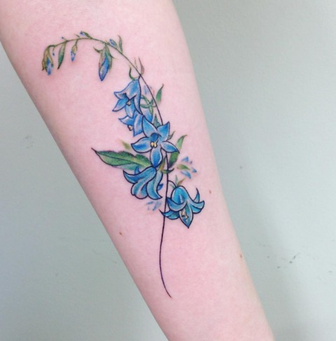 Blue flowers on the hand