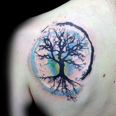 Colorful tattoo idea on the shoulder