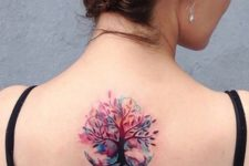 Colorful tree of life tattoo