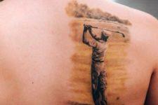 Cool golf player tattoo design