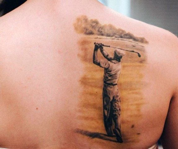 Cool golf player tattoo design