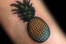 Creative pineapple shaped disco ball tattoo idea