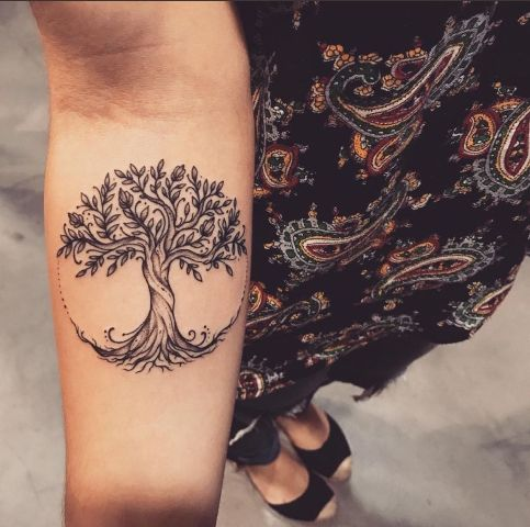 Cute tree of life tattoo on the forearm