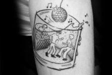 DJ, dancing people and disco ball tattoo