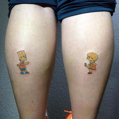 Dancing Bart and Lisa tattoos on the legs