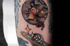Disco ball as a planet tattoo