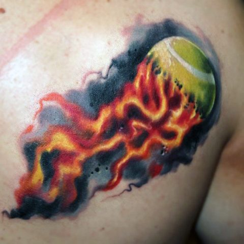 Fire and tennis ball tattoo on the chest