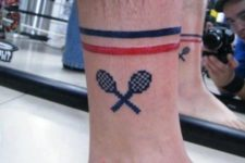 Funny tennis tattoo idea on the ankle