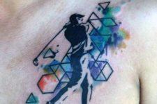 Geometric golf tattoo on the chest