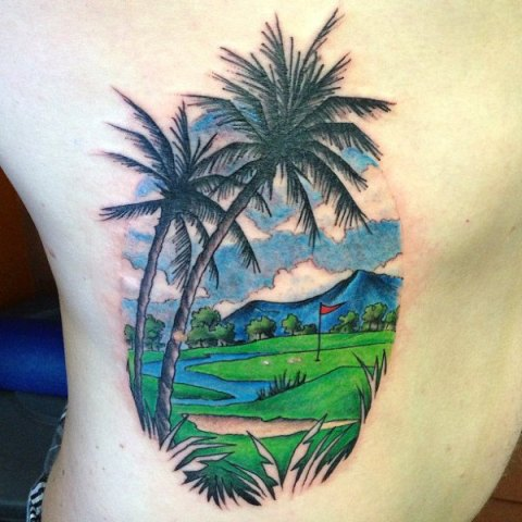 Golf field tattoo