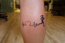 Heartbeat and running woman tattoo on the leg