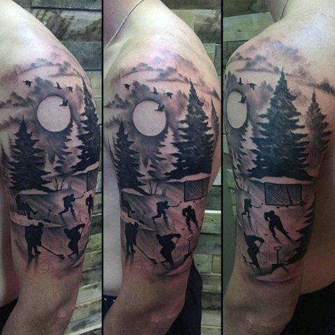 Hockey game scene tattoo on the shoulder and arm