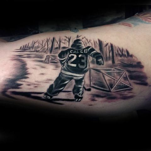 Hockey player tattoo on the hand