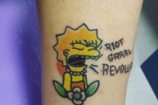 Lisa Simpson tattoo on the leg