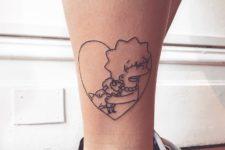 Lisa and lamb tattoo on the leg