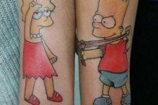 Matching Bart and Lisa tattoos