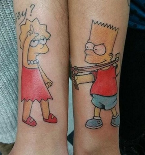 Matching Bart and Lisa tattoos